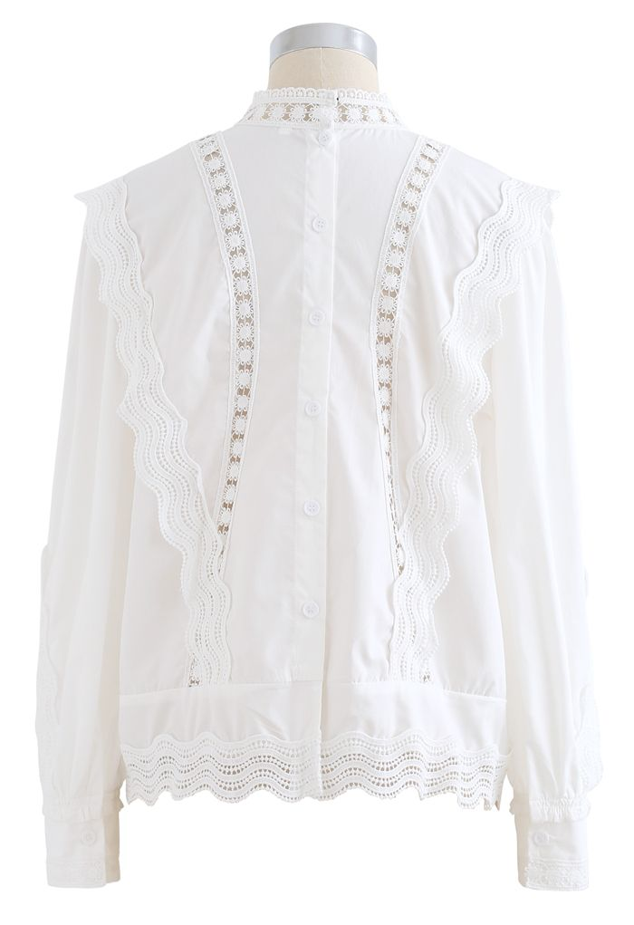 Buttoned Back Crochet Eyelet Top in White