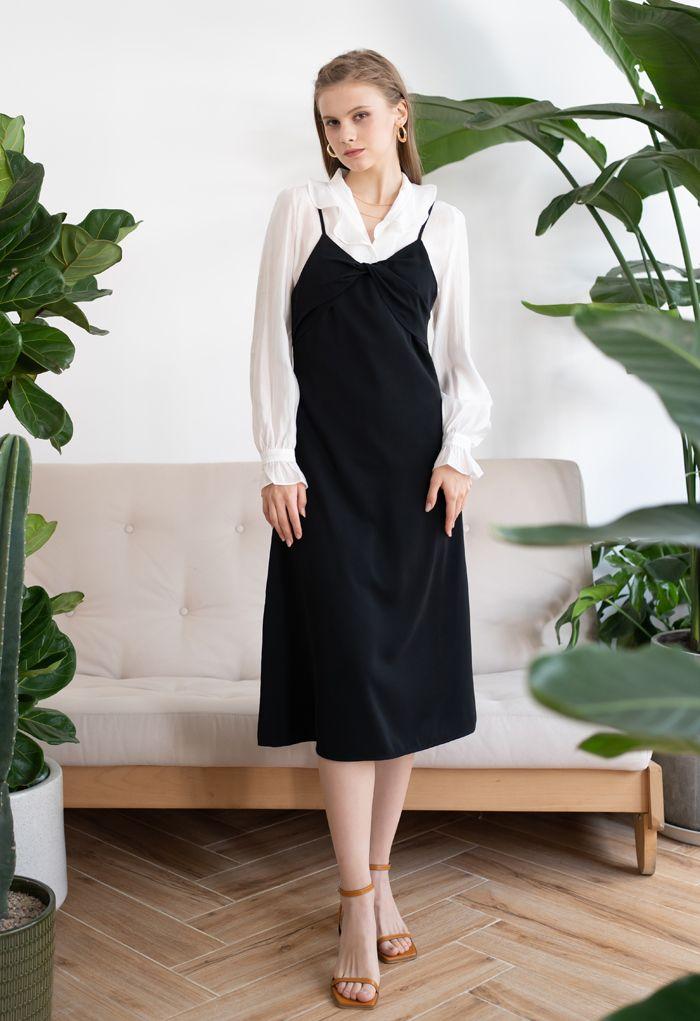 Twist Bust Flare Cami Dress in Black