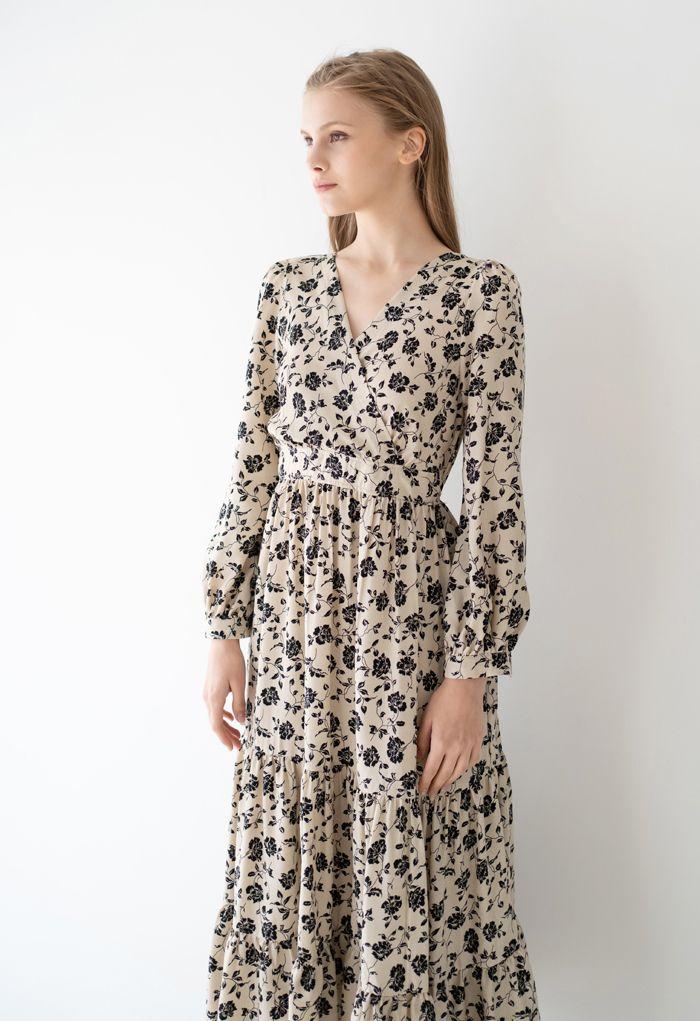 Black Posy Wrapped Frilling Maxi Dress