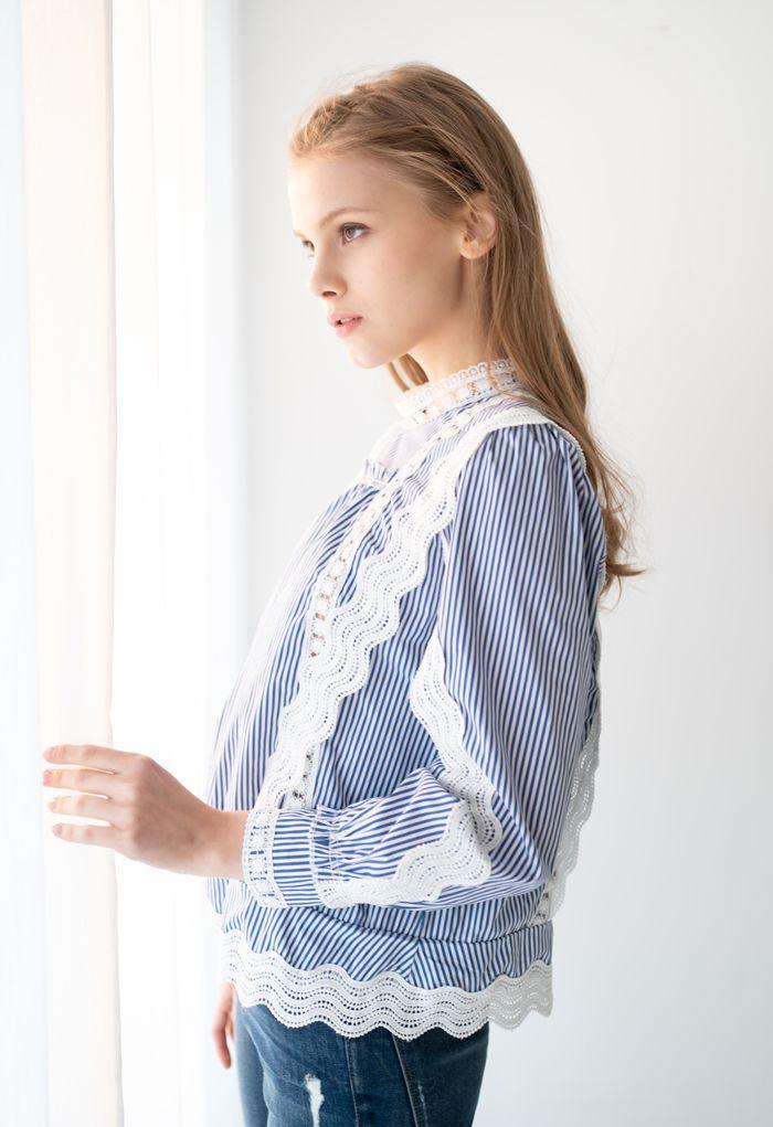 Buttoned Back Crochet Eyelet Top in Stripe