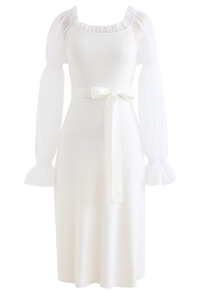 Pleated Square Neck Organza Knit Dress