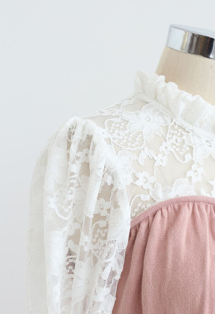 Lace Panelled Belted Knit Dress in Pink