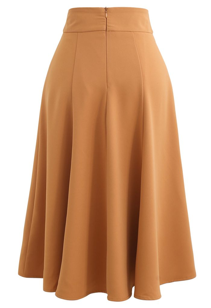 Marble Buckle Belted Flare Midi Skirt in Orange