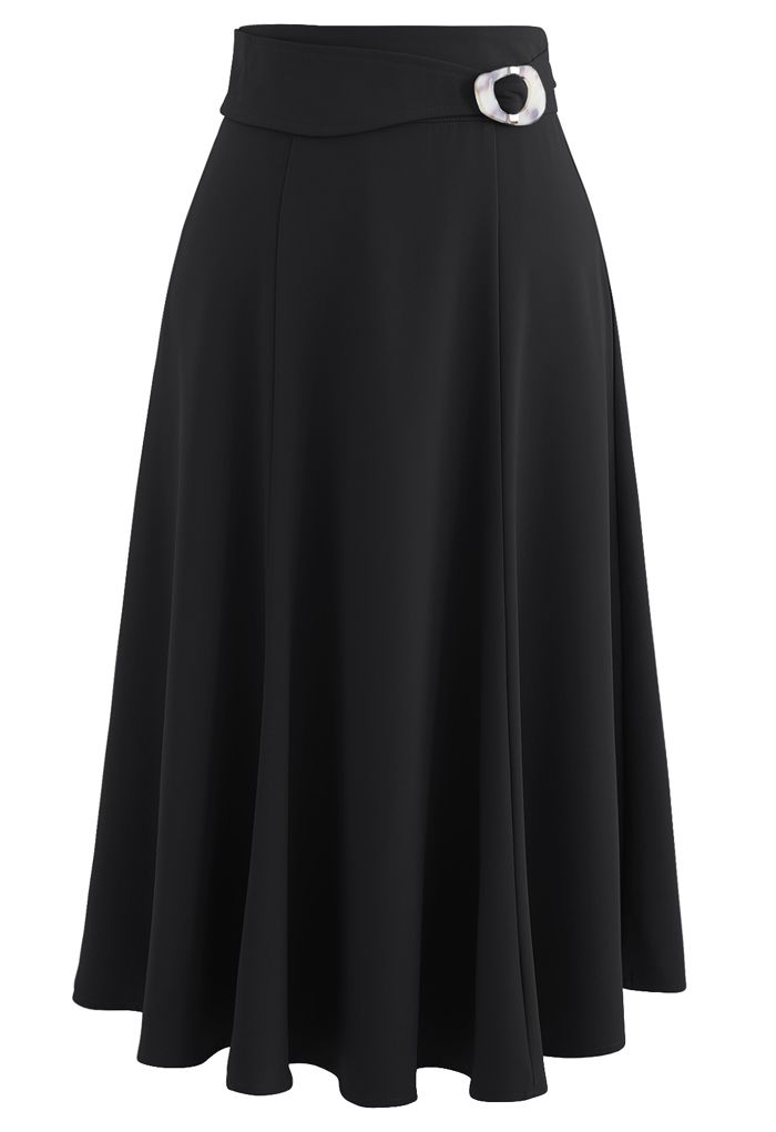 Marble Buckle Belted Flare Midi Skirt in Black