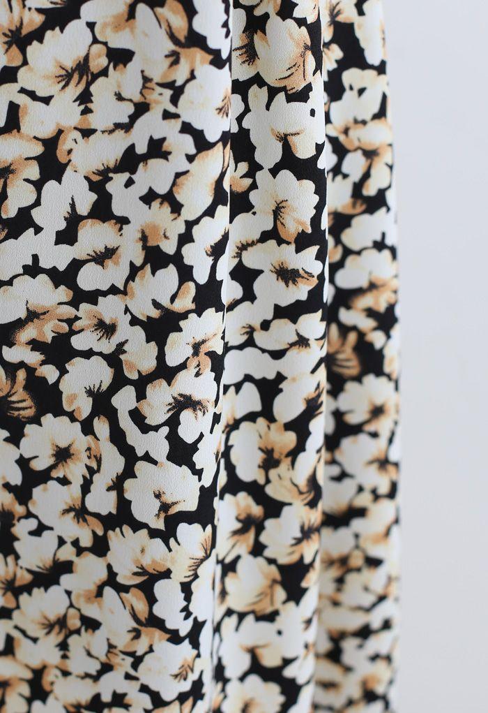 Tumbling Flowers Printed A-Line Midi Skirt in Light Yellow