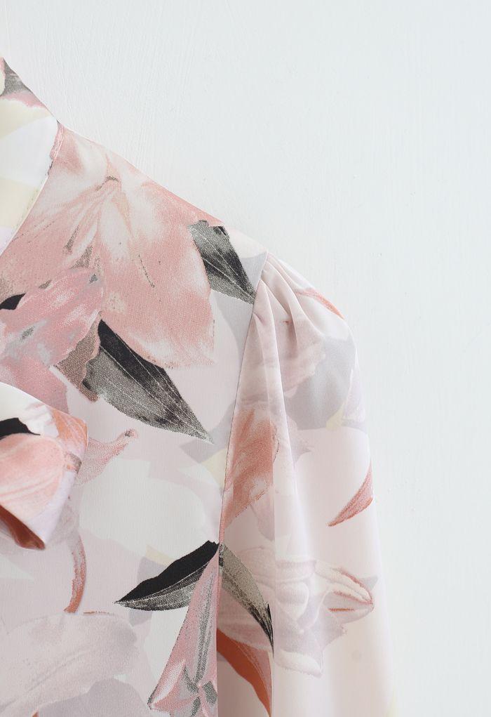 Pink Lily Blossom Watercolor Bowknot Shirt