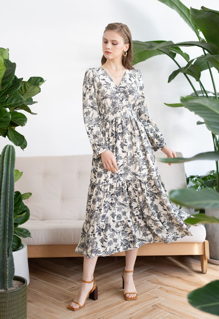 Drawing Floral Print Wrap Chiffon Dress in Cream
