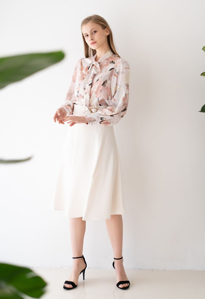 Marble Buckle Belted Flare Midi Skirt in White