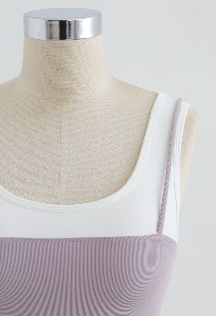 Fake Two-Piece Strappy Sports Bra in Lavender