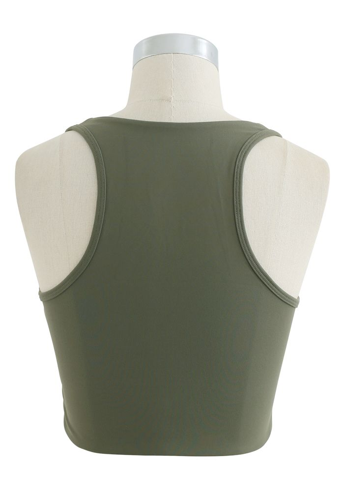 Zipper Cut Out Front Low-Impact Sports Bra in Army Green