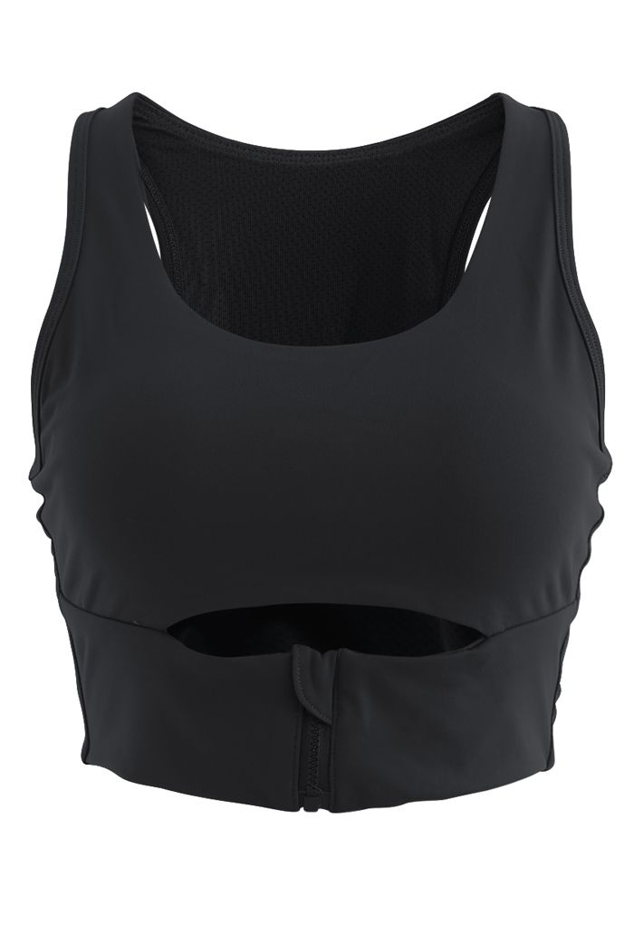 Zipper Cut Out Front Low-Impact Sports Bra in Black
