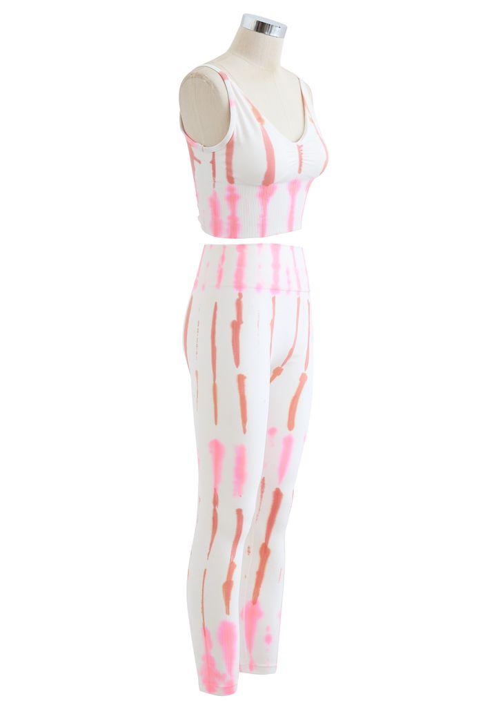 Pastel Striped Sports Bra and Ribbed Waist Leggings Set
