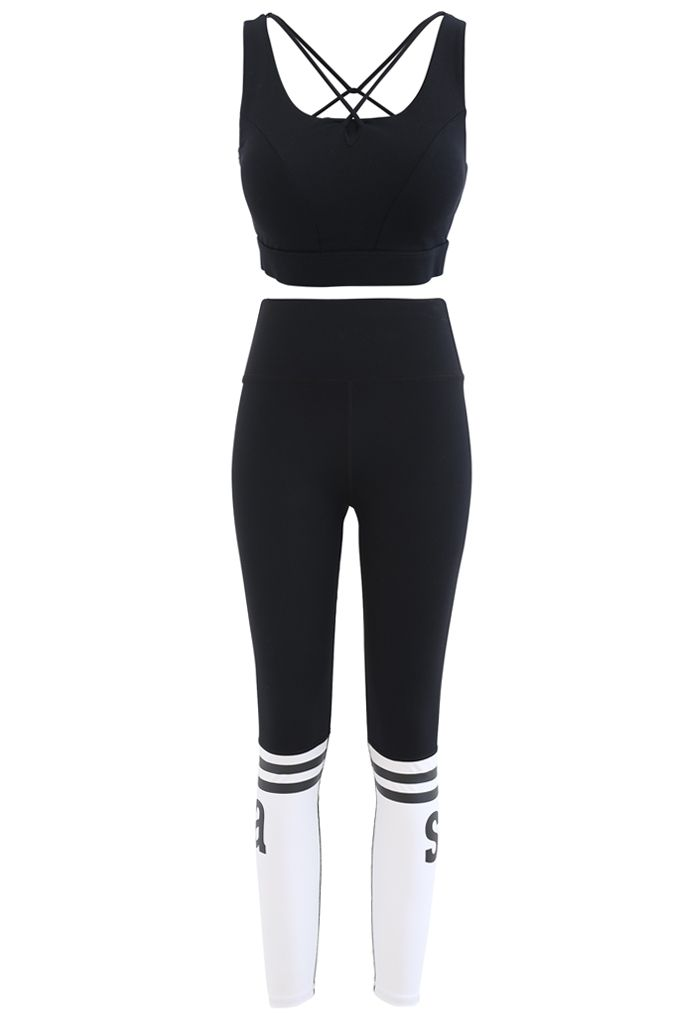 Lace-Up Back Sports Bra and Butt Lift Leggings Set in Black