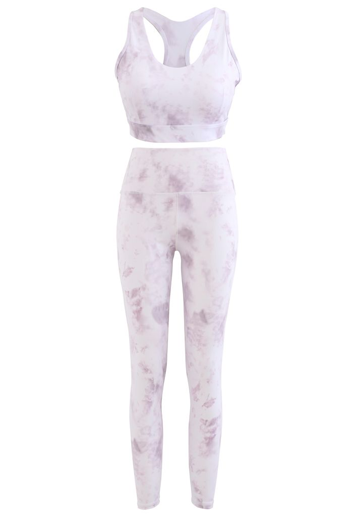 Tie Dye Cutout Back Sports Bra and Ankle-Length Leggings Set