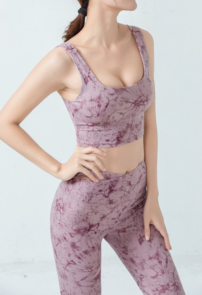 Tie-Dye Elasticated Cutout Back Sports Bra in Lilac