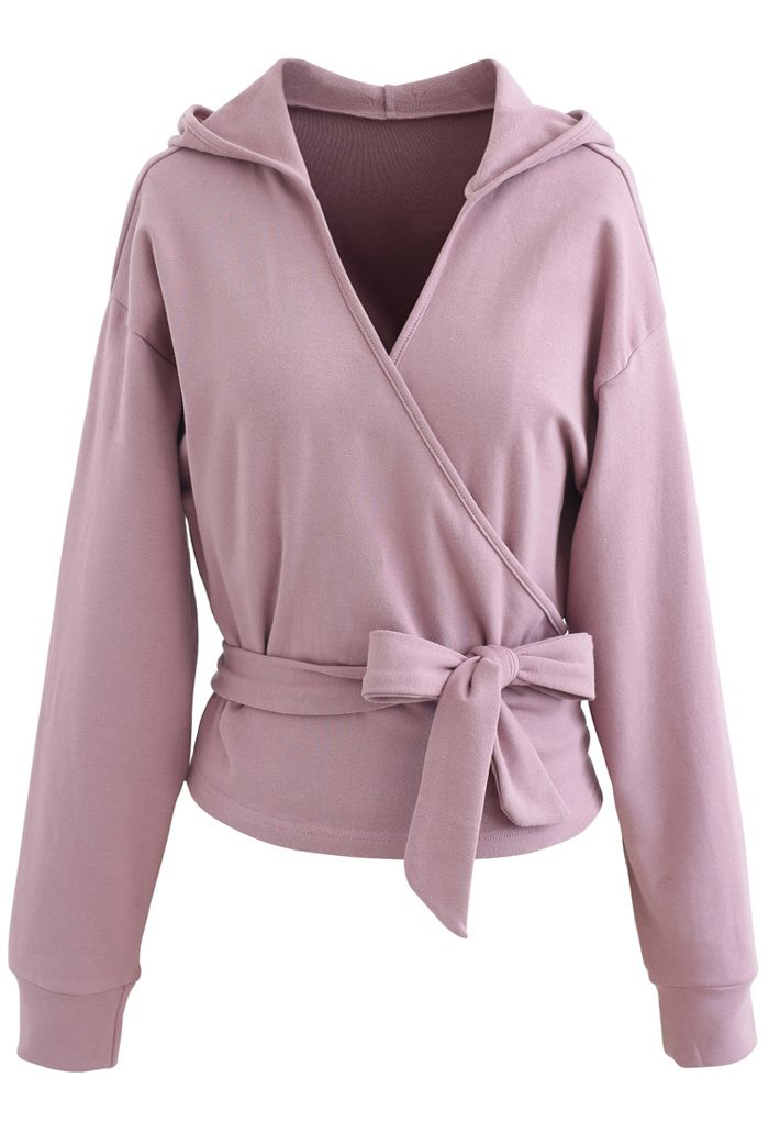Self-Tied Front Cropped Hoodie in Lilac