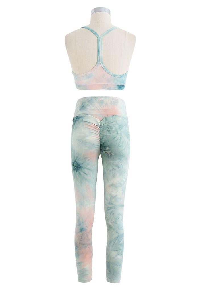 Tie Dye I-Shaped Back Sports Bra and Butt Lift Leggings Set