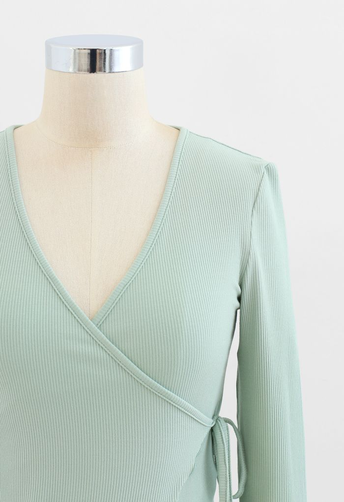 Lettuce Edge Cropped Wrap Top in Mint