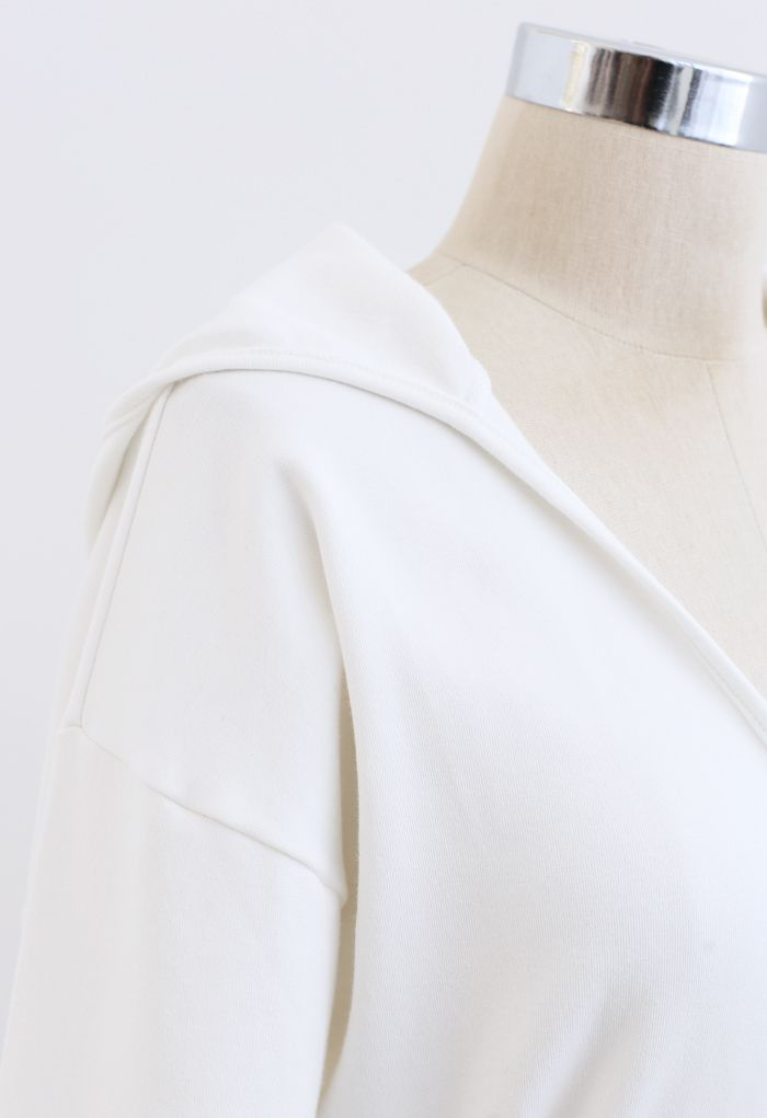 Self-Tied Front Cropped Hoodie in White
