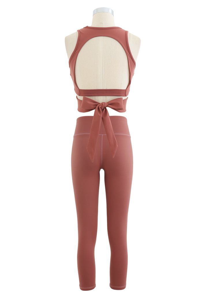 Open Back Bowknot Waist Sports Bra and Crop Leggings Sets in Coral