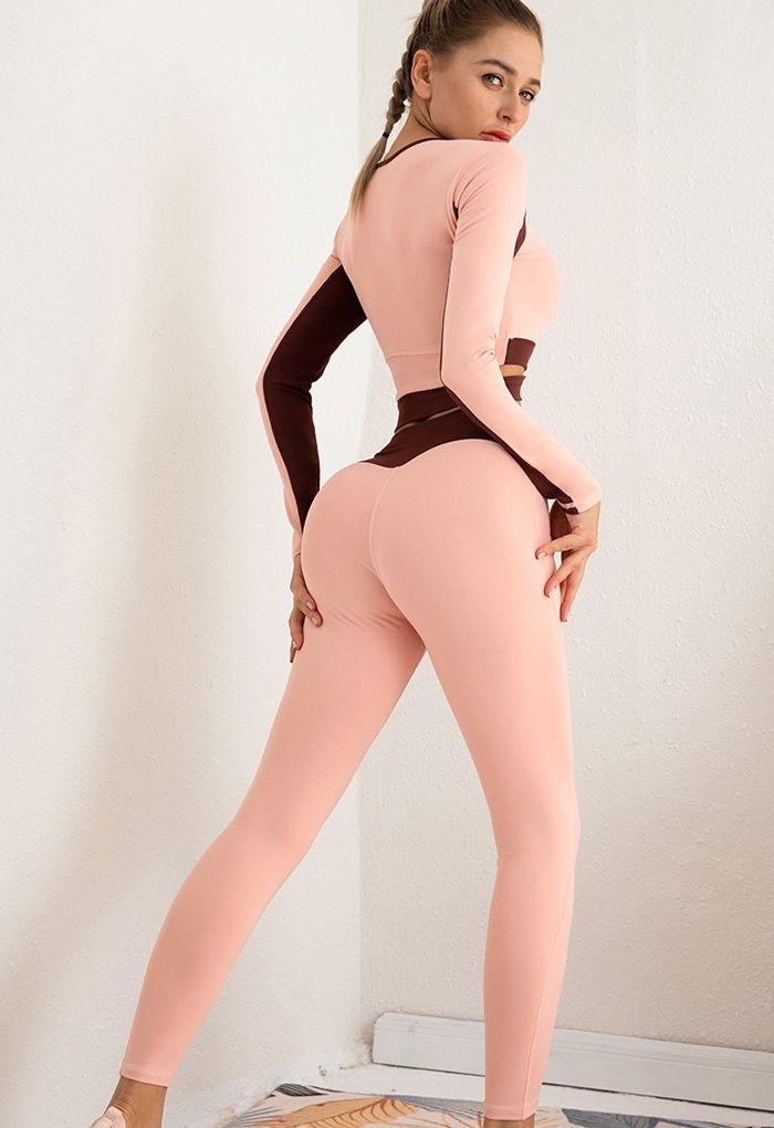 Contrast Cross Waist Top and Leggings Set in Pink