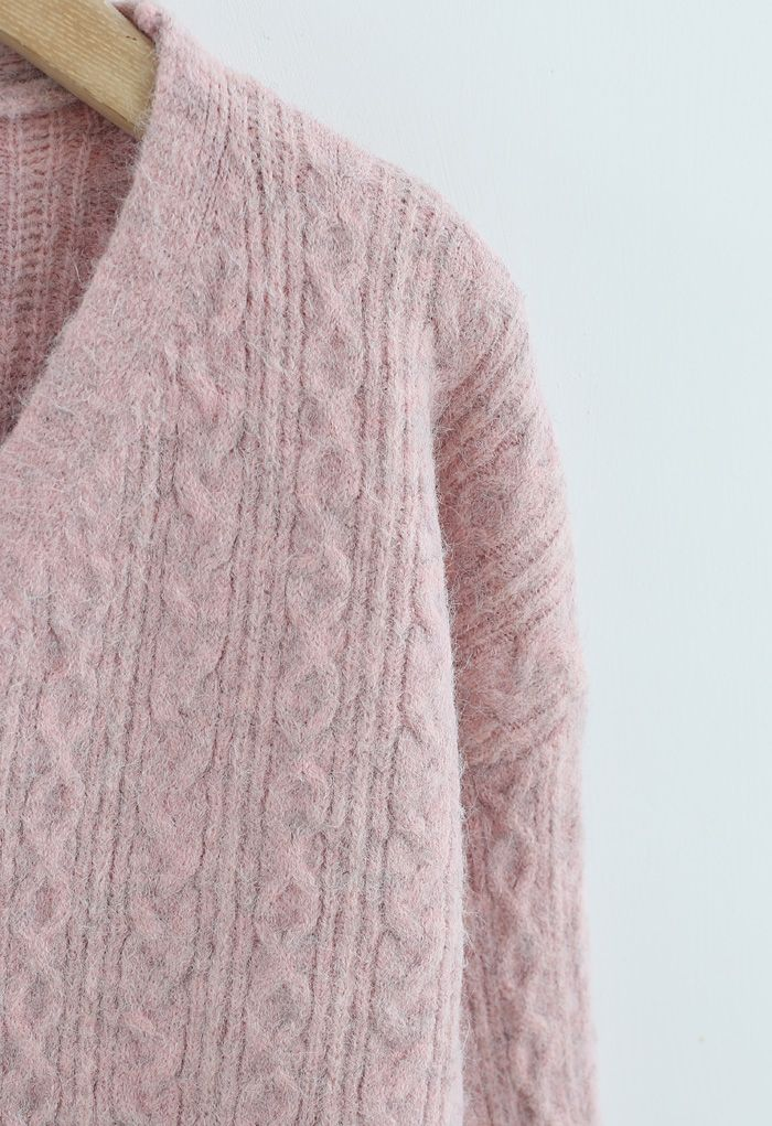 Braid Buttoned Fuzzy Knit Cardigan in Pink