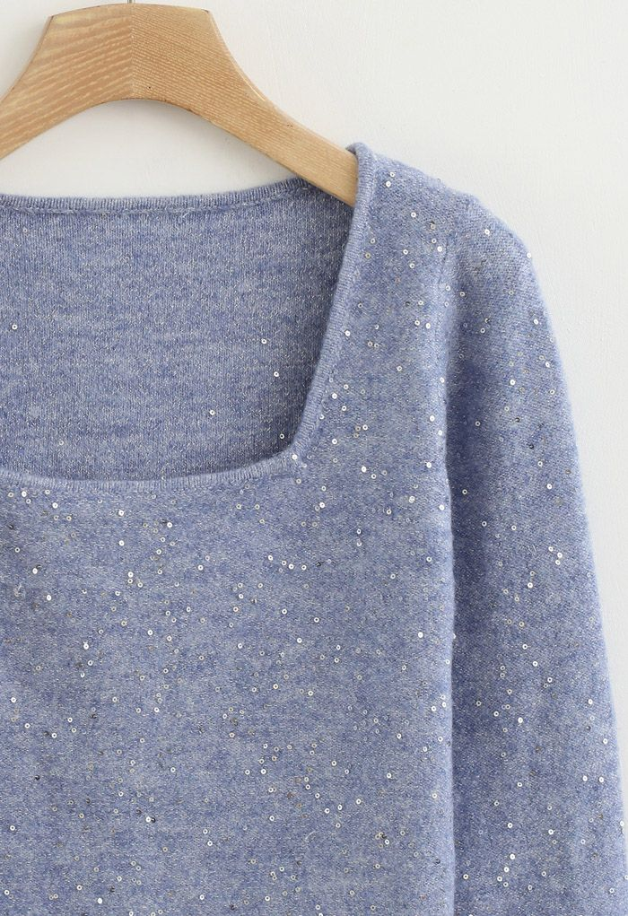 Sequins Square Neck Fluffy Crop Knit Top in Blue