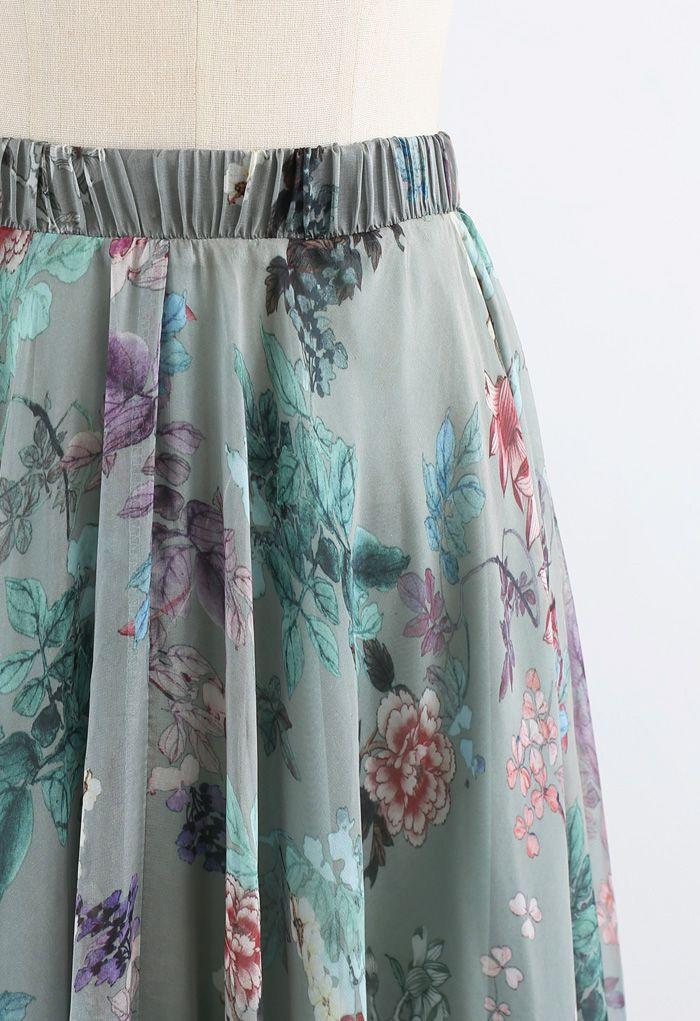 Exuberant Floral Chiffon Maxi Skirt in Green