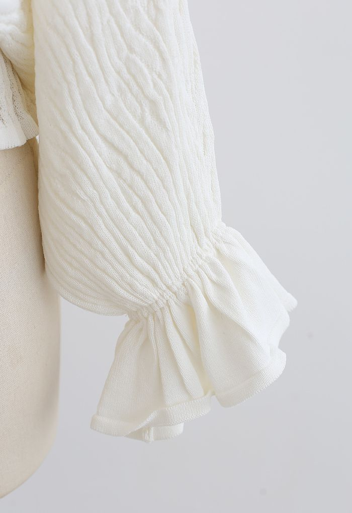 Batwing Sleeves V-Neck Ruched Knit Top in White