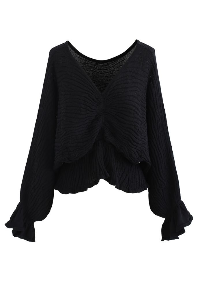 Batwing Sleeves V-Neck Ruched Knit Top in Black