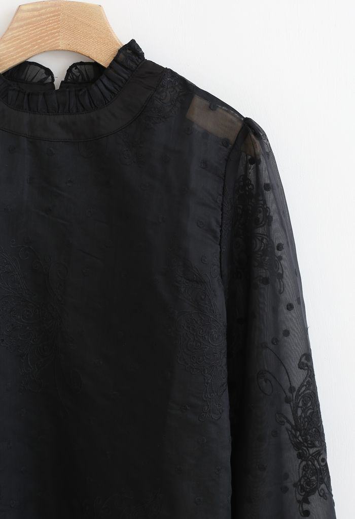 Butterfly Dots Embroidered Organza Sheer Top in Black