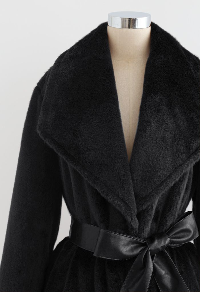 Faux Fur PU Leather Belted Coat in Black