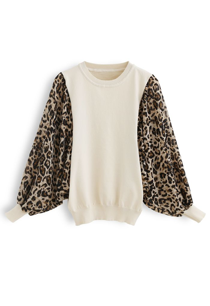 Leopard Chiffon Batwing Sleeves Knit Top in Cream
