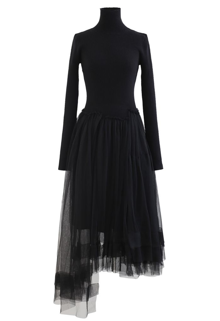 Knitted Splicing Asymmetric Layered Mesh Dress in Black
