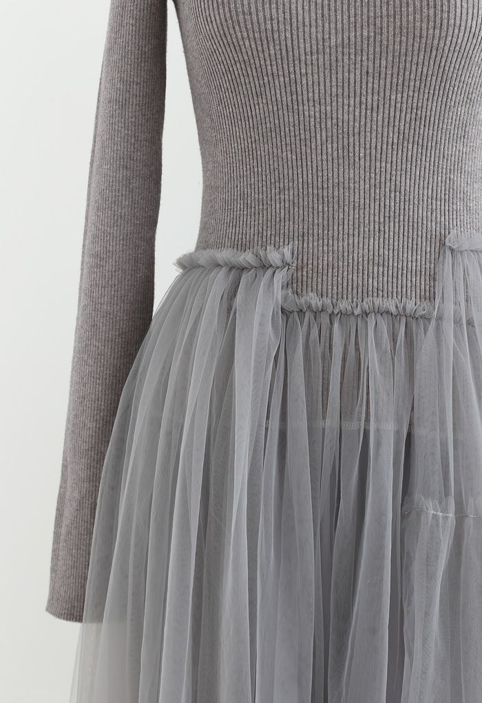 Knitted Splicing Asymmetric Layered Mesh Dress in Grey