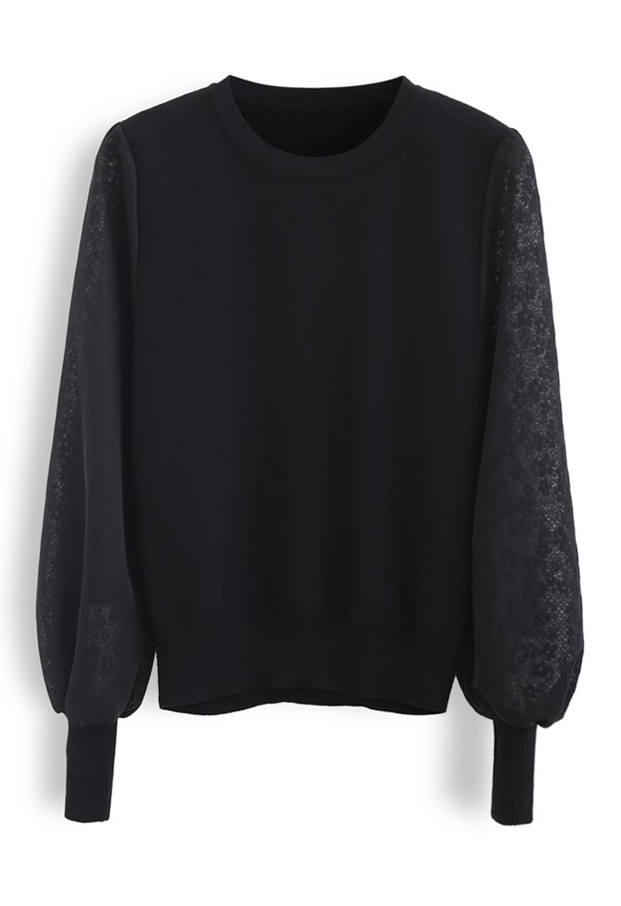 Flower Mesh Sleeves Spliced Knit Sweater in Black