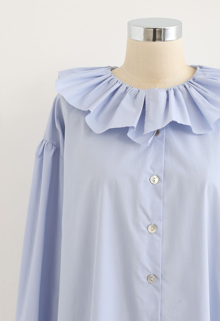 Ruffle Neck Button Down Loose Shirt in Blue