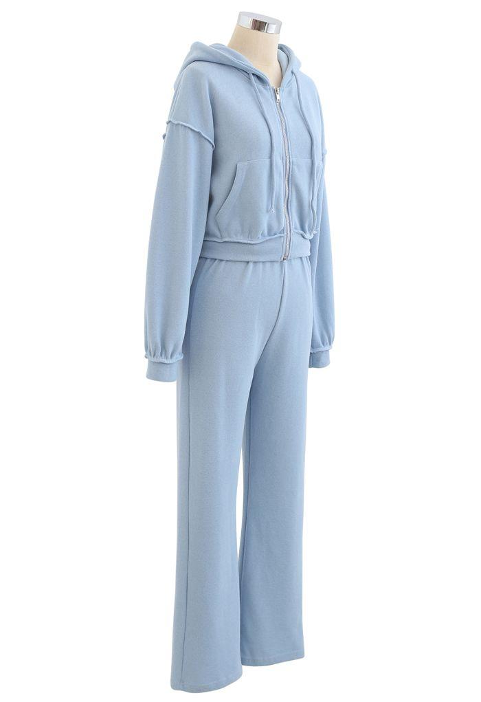 Crop Rib Zipper Hoodie and Straight Leg Pants Set in Blue