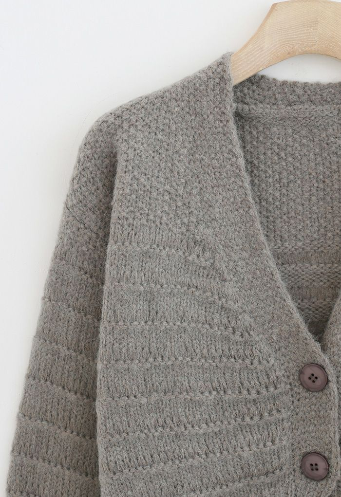 V-Neck Button Down Fuzzy Knit Cardigan in Grey