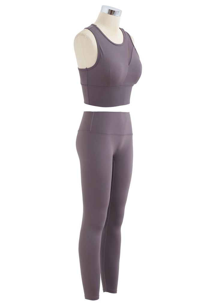 Mesh-Inset Medium-Impact Sports Bra and Leggings Set in Purple