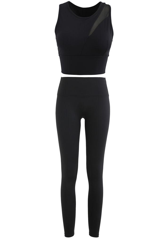 Mesh-Inset Medium-Impact Sports Bra and Leggings Set in Black