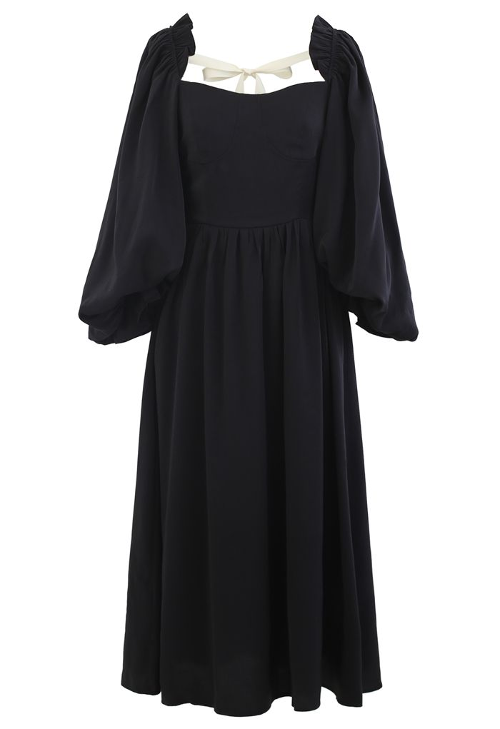 Dramatic Puff Sleeve Shirred Dress in Black