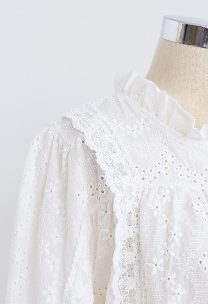 High Neck Eyelet Embroidered Floret Top in White