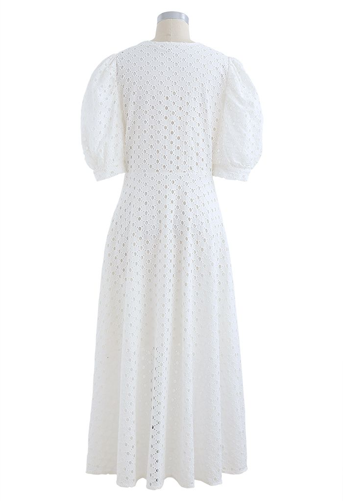 Twist V-Neck Buttoned Eyelet Dress in White