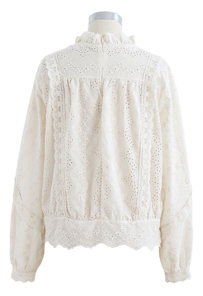 High Neck Eyelet Embroidered Floret Top in Cream