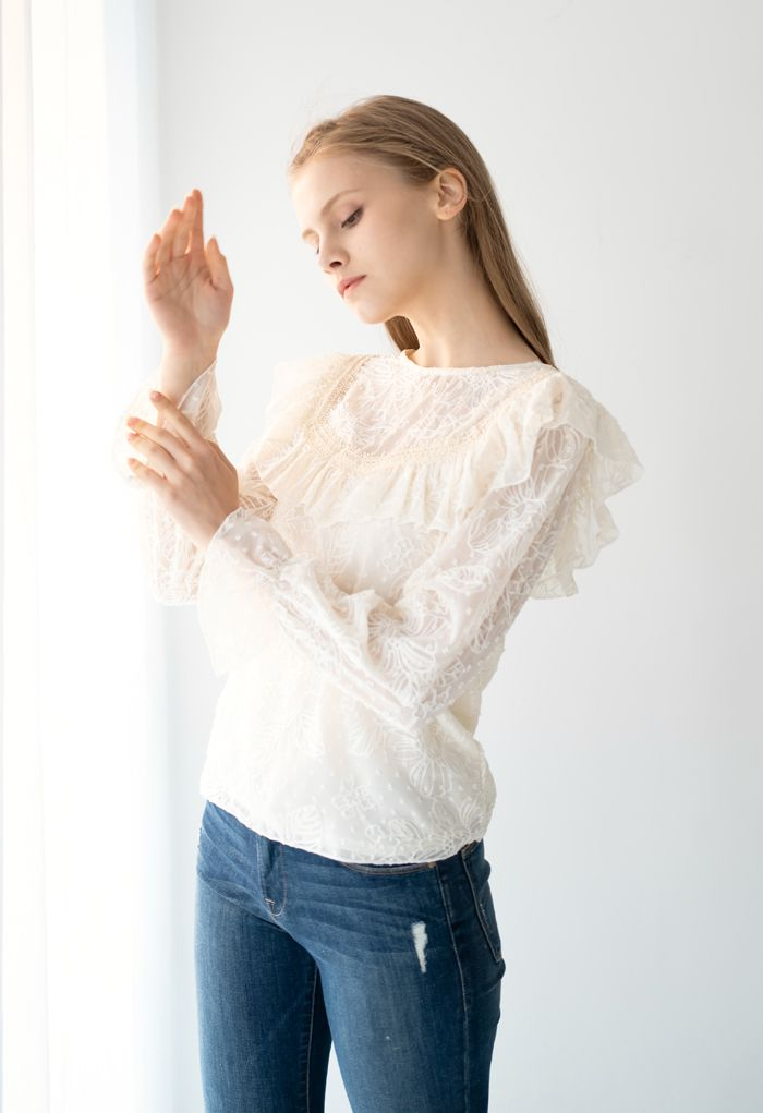 Ruffle Embroidered Floral Chiffon Top in Cream