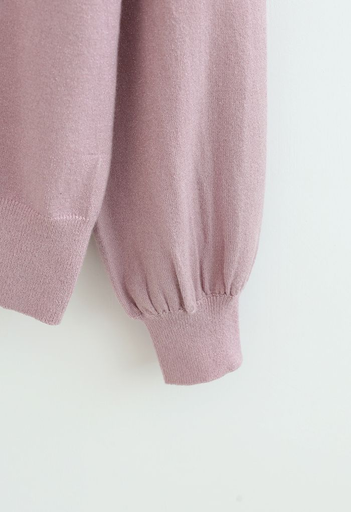 Pearl Trim Shimmer Knit Top in Pink