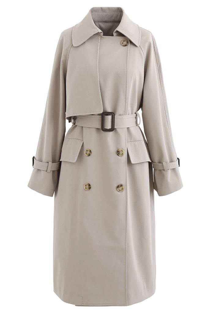 Flap Pockets Double-Breasted Belted Trench Coat in Sand