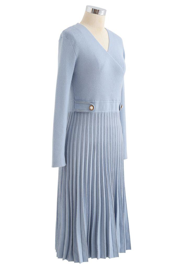 Button Embellished Wrap Pleated Knit Dress in Blue