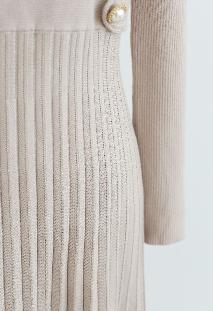 Button Embellished Wrap Pleated Knit Dress in Sand